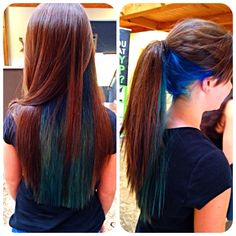 Blue and teal under layer #bright #longhair #colors