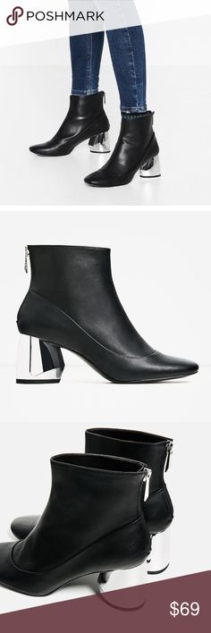 Zara ankle boots metallic mirror block heel 2017 Metallic Block heel , sold out every where, bloggers fave !! polyurethane, heel heigh 6.5 cm, mirror like metallic finishing on heels Zara Shoes Ankle Boots & Booties