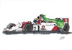 Caricatura Mclaren Cars, Formula 1 Car, Car Posters, F1 Drivers, Automotive Art, Sport Cars, Honda, Automobile, Racing