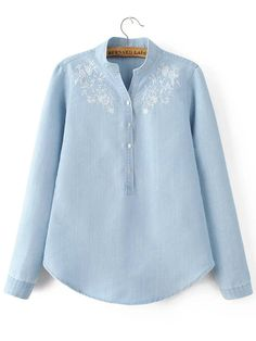 SheIn offers… Source by blouses patterns Online Blouse Shopping, Blouse Online, Embroidered Denim Shirt, Embroidered Clothes, Cute Sporty Outfits, Short Sleeve Collared Shirts, Denim Blouse, Denim Shirts, Blouse Dress
