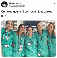 Cá quero fazer uma foto assim eu e vc Grey's Anatomy, Nursing Goals, Army Medic, Medicine Student, Medical Careers, Greys Anatomy Memes, Female Doctor, Veterinary Medicine, Student Motivation