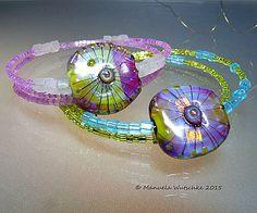 Artist Glass Lampwork P I N K Bracelet   - Beach Jewelry - handmade by Glassartist Manuela Wutschke