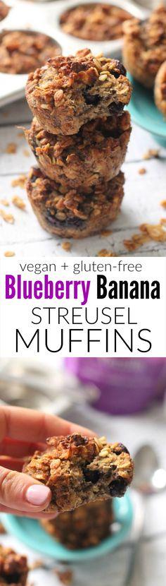 Blueberry Banana Streusel Muffins---easy, moist, oil-free, vegan, and gluten-free!