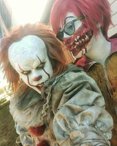 Pennywise and Ronald macdonald Bill Skarsgard Pennywise, Winter Fire, What Is My Life, Le Clown, Pennywise The Dancing Clown, Horror Icons, Scary Movies, Im In Love, Halloween Makeup