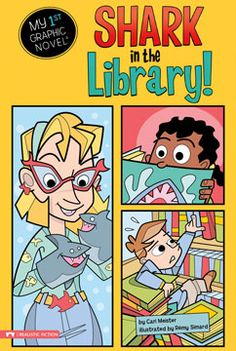 Shark in the Library! by Cari Meister. For ages 5-7. Noah is thrilled when the week's library theme is sea creatures. But when Noah can't find the stuffed shark, he is disappointed. Noah knows there is a shark in the library, and he is going to find it!