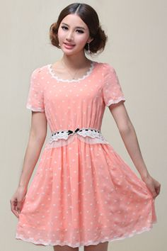 ROMWE   Embroidered Lace Trimming Pink Dress, The Latest Street Fashion #ROMWEROCOCO