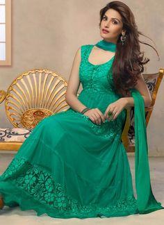 Appealing Green Georgette Anarkali Suit @ 2625