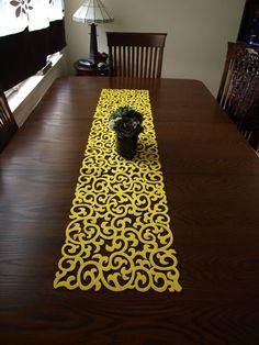 Yellow felt modern table runner