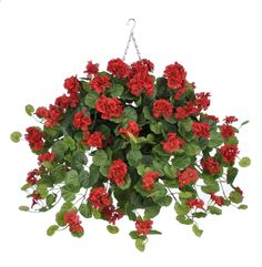 Artificial Geranium Hanging Plant WT in Square Basket