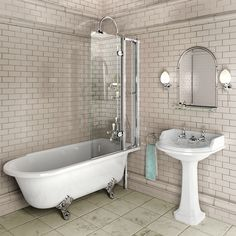 Roll top bath with shower overhead