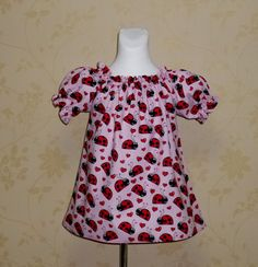 Ladybugs Peasant Top  12M To 7 by FRANCISBEL on Etsy