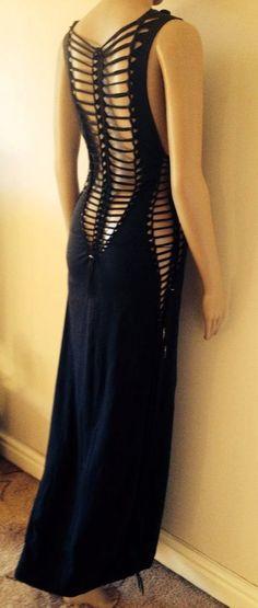 Maxi dress, handmade,shredded,braided,cuts,open back,long,stretchy,black,alternative,boho,hippie,goa,psy trance,party,festival,burning man. on Etsy, $66.81