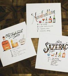 Lettered Libations Cocktail Recipe Art Prints, Set of 3