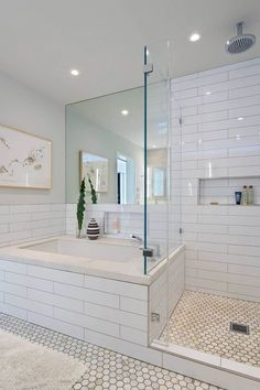 House in Berkeley Hills by Yamamar Design. Modern bath. Oversized subway tile. Marble hexagonal tile. Framless shower doors.