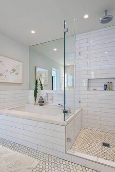 Bathroom Design : Wonderful Modern Bathroom White Tile Design Home Gray Cleane White Tile Bathroom ~ Aerial-type Modern Baths, Mid-century Modern, Modern Decor, Modern Luxury, Interior Modern, Luxury Spa, Modern Glass, Contemporary Style, Modern Farmhouse Bathroom