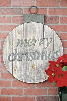 "29.00 SALE PRICE! 			Highlight the spirit of the season with this 25"" Wood MDF Pallette Sign! The pallet is cut in the shape of a Christmas tree ornamen..."