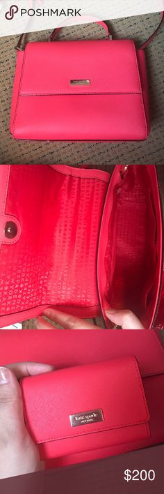 Red Kate Spade cross body bag Omg worn a couple of times, also comes with little change purse. sizing of bag is 10.5 inches by 7.5 inches only thing that is wrong is there is a white scratch on lining but I accounted for that in the price. Bought this for 350. kate spade Bags Crossbody Bags