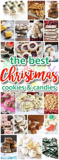 The BEST Christmas Cookies, Fudge, Candy, Barks and Brittles Recipes Favorites for Holiday Treats Gift Plates and Goodies Bags! Looking for some YUMMY recipes for your holiday cookie exchange party or Christmas gift plates for neighbors, teachers an Best Christmas Cookies, Christmas Snacks, Christmas Cooking, Holiday Cookies, Holiday Treats, Holiday Recipes, Diy Christmas, Christmas Recipes, Holiday Gifts