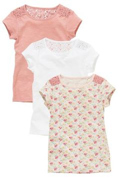 Buy Three Pack Lace Shoulder T-Shirts (3-16yrs) from the Next UK online shop