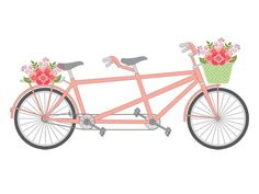 Tandem Bike Clipart - Vector Tandem Bike Clipart, Tandem Bicycle Clipart, Tandem Clipart, Wedding Bicycle Clipart, Tandem Bicycle Clip Art #clipart #vector #illustration #thecreativemill