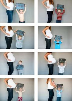 Creative birth announcement photo ideas: Chalkboard sibling photo series. So sweet to welcome # 2!