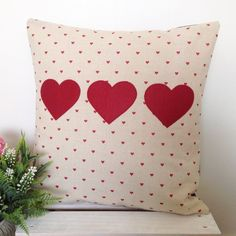 Cushion Cover - Hearts | Red Hearts
