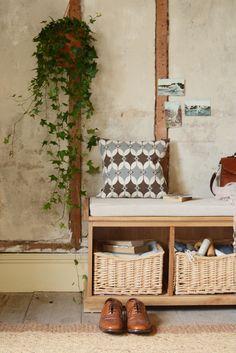 Hanging Ivy, hallway, shoe bench, shoe storage, hall seating, brogues, modern rustic