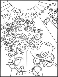 Flower Power Coloring Pages Best Of 3 D Coloring Book Flower Power Coloring Book Pages, Printable Coloring Pages, Coloring Sheets, Doodle Coloring, Coloring For Kids, Flower Power, Creation Art, Bird Crafts, Colorful Drawings