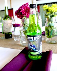Jones soda favors feature the bride & groom's engagement photo and a message from them.     Get this and more custom ideas with www.designyourweddingday.com