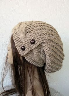 Hand Knit Hat Womens hat   Slouchy Beanie cable ...