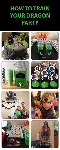 How to Train your Dragon Kids Party. Green Black theme. Toothless and Hiccup.