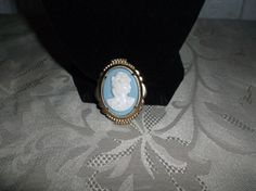 VTG. BLUE & WHITE LUCITE CAMEO WOMAN WITH CURLS & ROMAN ATTIRE OVAL BROOCH~ #CameoRomanGreece