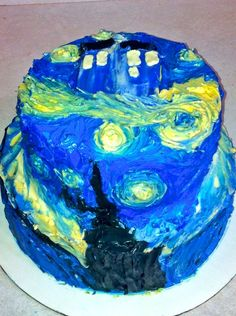 Impressionist Buttercream dr who cake