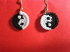 Crochet earrings Yin and Yang