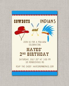 Cowboys & Indians Birthday Invitation. $15.00, via Etsy.