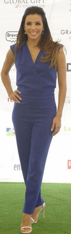 Eva Longoria, blue jumpsuit