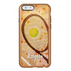 Tennis Love Incipio Feather® Shine iPhone 6 Case - Abstract tennis graphics composite adorned with cute scattered hearts accent - customize with her name - by katz_d_zynes