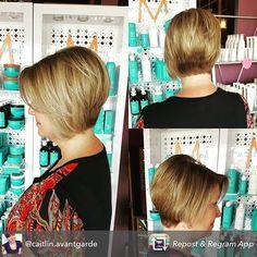 Fun #asymmetrical bob by @caitlin.avantgarde #haircut #avantgardesalonandspa