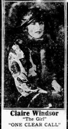 Newspaper ad for the American film One Clear Call (1922) with Claire Windsor, on page 2 of the July 8, 1922 Duluth Herald.
