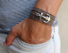 Men's Bracelet - Men's Anchor Bracelet - Men's Leather Bracelet - Men's Gray Bracelet - Mens Jewelry - Jewelry For Men - Gift for Him