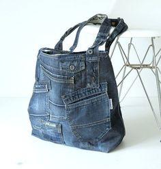 41135bbec9 XXL tote bag blu scuro della spiaggia con un sacco di di Lowieke Only Jeans,