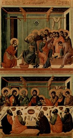 Washing of the Feet and the Last Supper, painting of Altar of Siena Cathedral in century Holy Thursday Mass, Holy Saturday, Last Supper Art, Siena Cathedral, Maundy Thursday, In Remembrance Of Me, Flesh And Blood, Holy Week, 14th Century