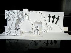 Printable pop-up scenes for Sunday school - Resurrection, Miraculous Catch, and Road to Emmaus