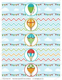 Hot Air Balloon Water Bottle Labels  party by hfcSupplies on Etsy