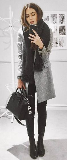 incredible fall outfit / plaid coat + scarf + bag + top + over the knee boots
