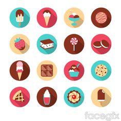 16 delicate dessert icon vector