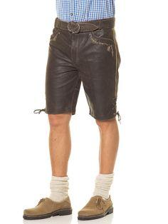 LEKRA Lederhose in braun - hochwertiges Leder im Antik-Look - Bund mit Gürtelschlaufen und Gürtel mit Dornschließe - Bundweite ist hinten mit einer Schnürung zu regulieren - mit Knopf und Reißverschluss zu schließen - zwei Einschubtaschen und eine Messertasche - eine Gesäßtasche - mit prächtigen Stickereien - Schnürung am Beinabschluss Achtung! Das Hemd,die Socken und die Schuhe sind nicht im Lieferumfang enthalten. LEKRA Trachten > Herren > Lederhosen