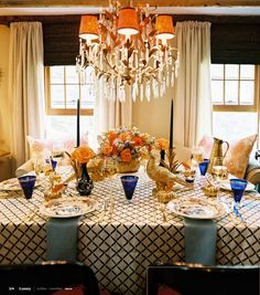 I love this! My dining room is cobalt, this would look great.  LOVE the chandelier, too!