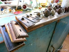 vintage door knobs and locks...Culpepper's Otto Depot in Otto, NC - architectural salvage.