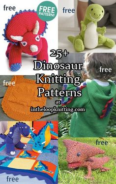Knitting patterns for dinosaur toys, blankets, sweaters, hats, scarves, and more. Most patterns are free.